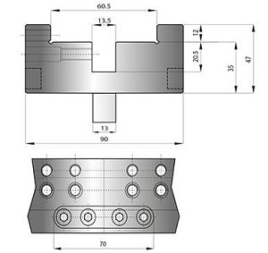 060.715M TRUMPF WILA STYLE PRESS BRAKE TOOLING, COMBINATION MODULAR DIE HOLDER, FOR DIES WITH 60MM BASE OR WITH 13MM TANG, H=35, W=520, 100 TONS(M)M